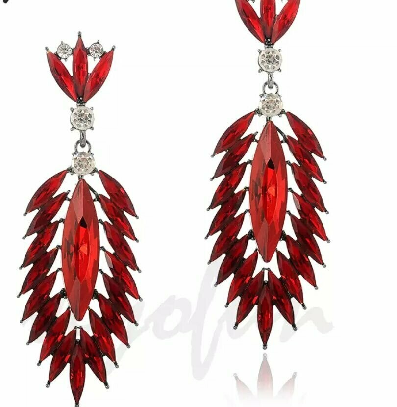 red feathered earring