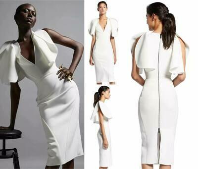 white ruffle sleeve bandage dress