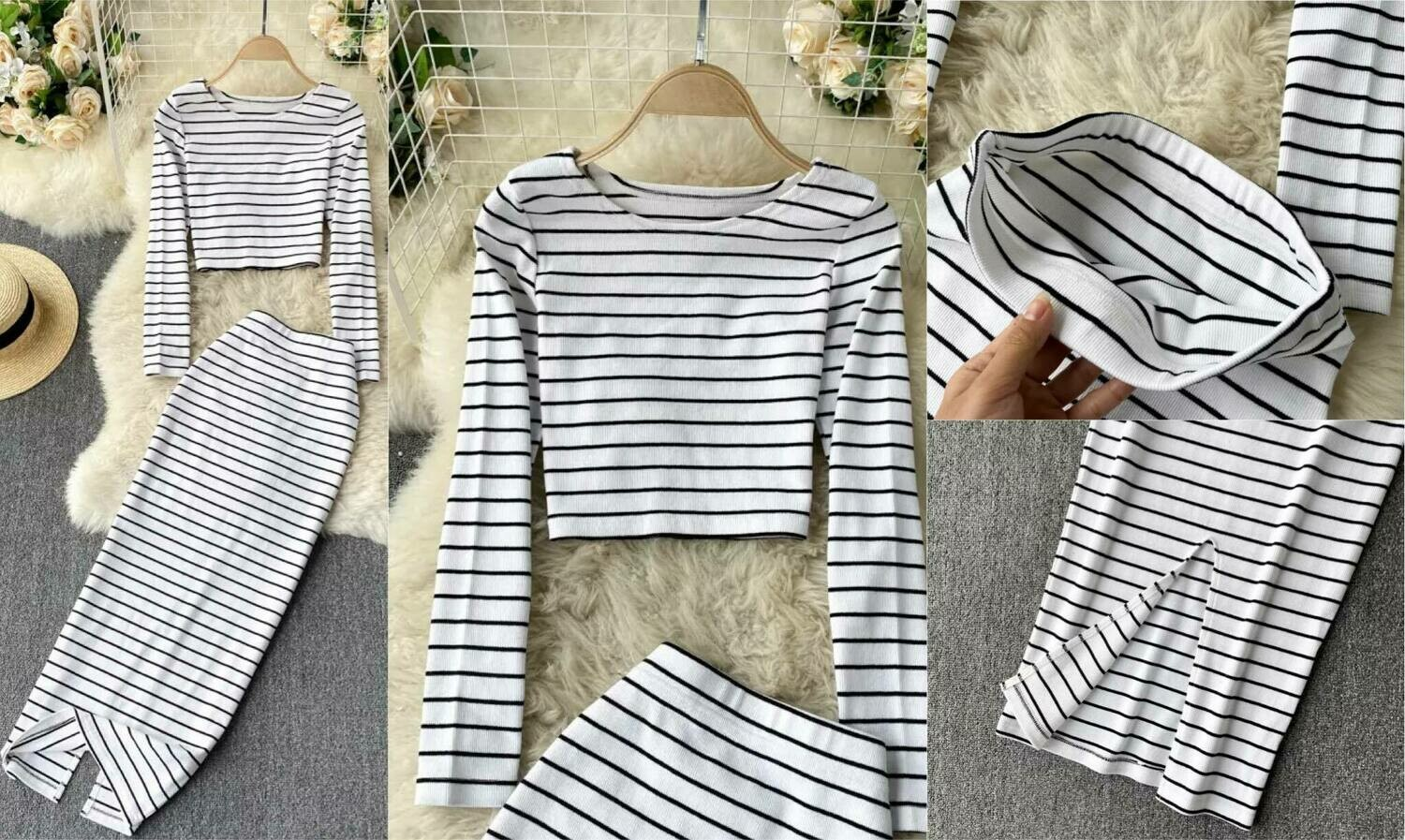 black and white striped set one size