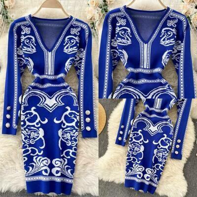 blue sweater dress one size