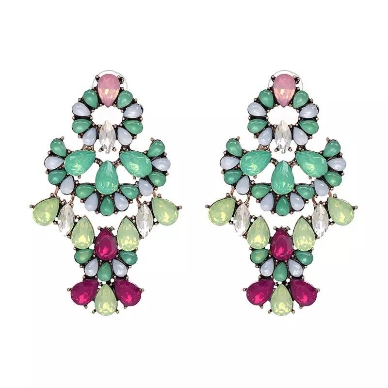 Mint Fuschia and pink drop dangle