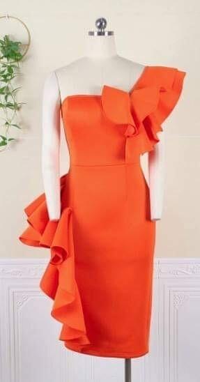 Orange scuba dress