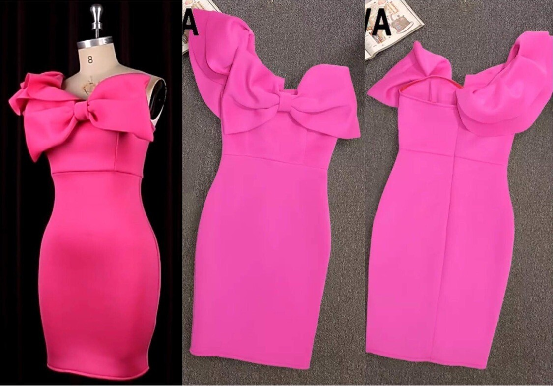 Pink scuba One Shoulder with bow