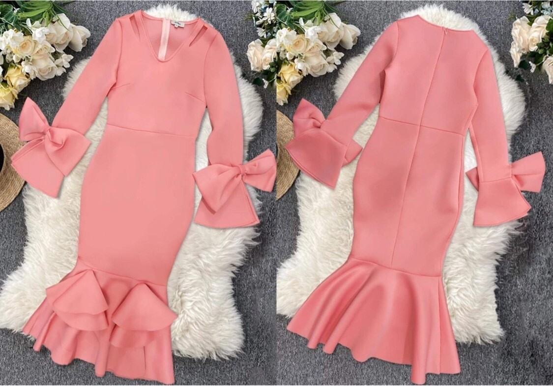 Scuba dress long sleeve