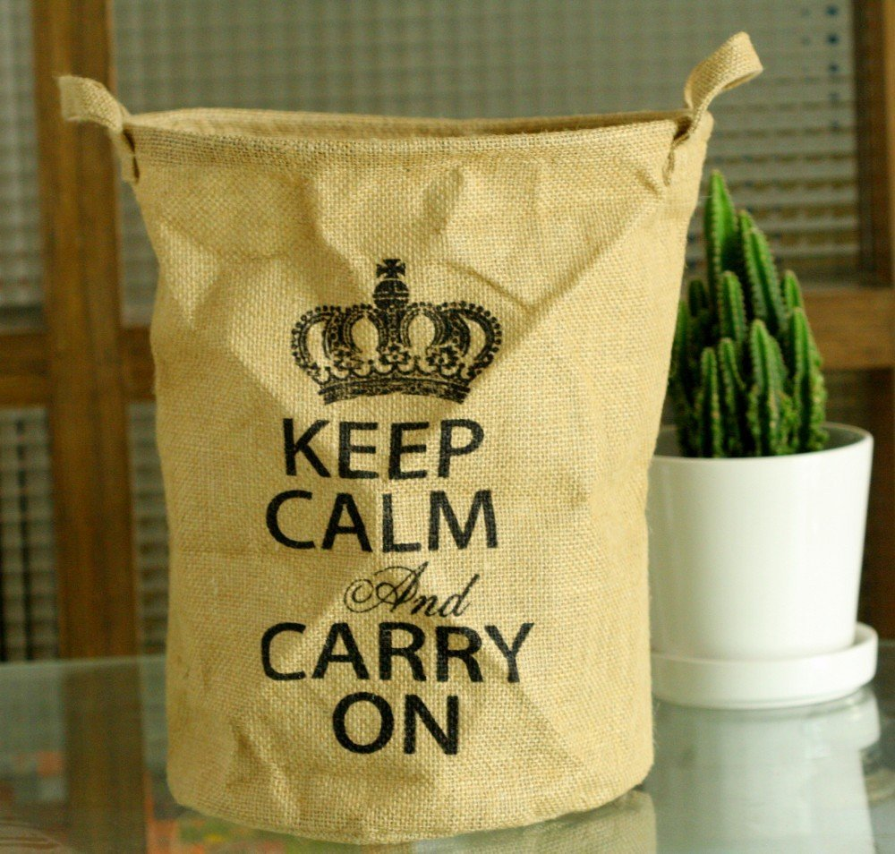Keep Calm Burlap Basket