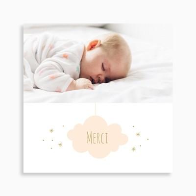 Carte de remerciement naissance nuage sur fond étoilé