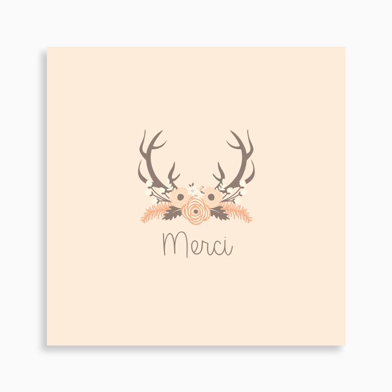 Carte de remerciement naissance bois de cerf et couronne de fleurs