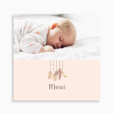 Carte de remerciement naissance attrape rêve bohème et plumes
