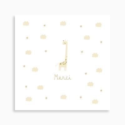 Carte de remerciement naissance girafe dans ses nuages