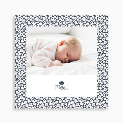 Carte de remerciement naissance motif liberty nuage original