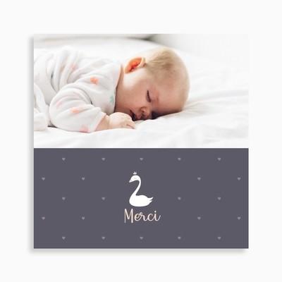 Carte de remerciement naissance cygne blanc