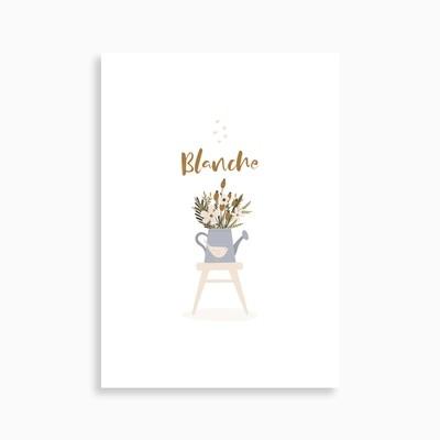 Faire-part de naissance jardinière (carte postale)
