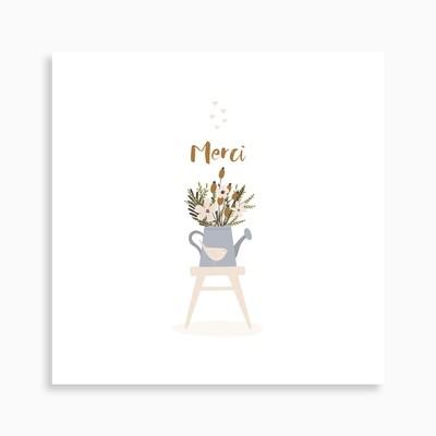 Carte de remerciement naissance arrosoir en fleurs