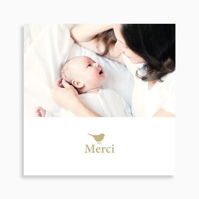 Carte de remerciement naissance oiseau et motif petits cœurs
