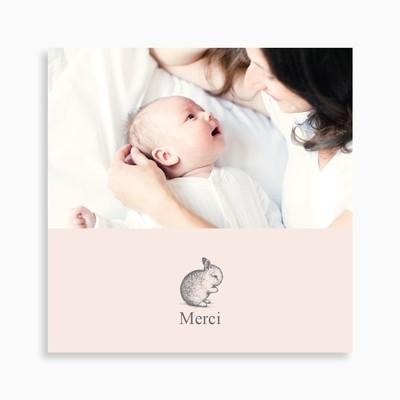 Carte de remerciement naissance petit lapin pour fille
