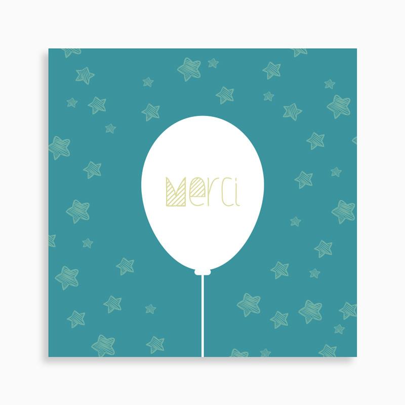 Carte de remerciement naissance ballon dans un ciel étoilé