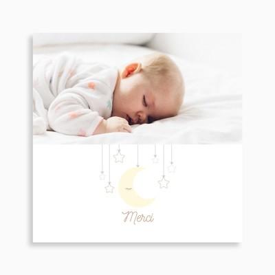 Carte de remerciement naissance mobile lune suspendue