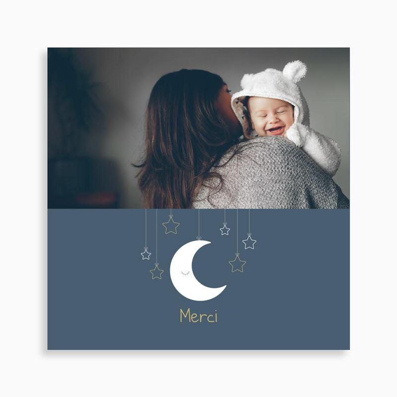 Carte de remerciement naissance lune suspendue et étoiles