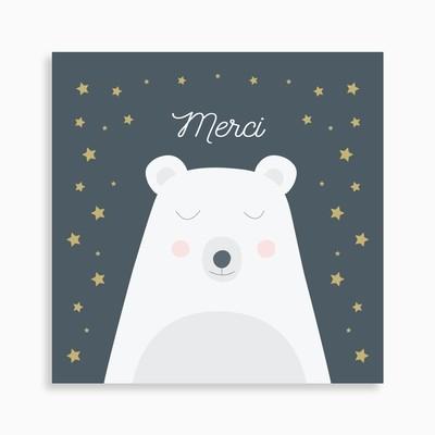Carte de remerciement naissance joli ours polaire rêveur