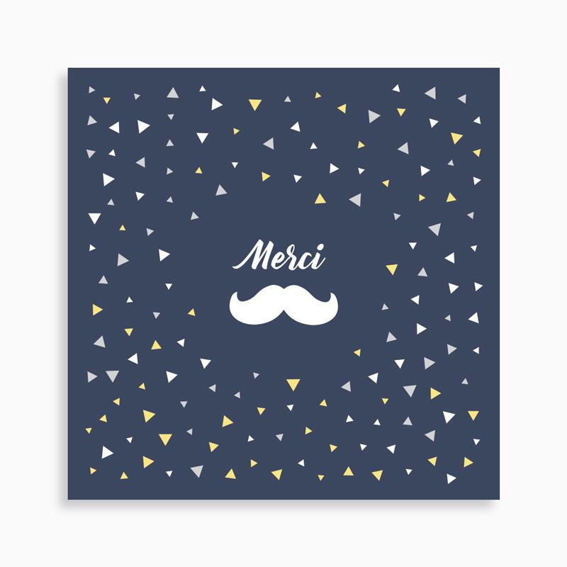 Carte de remerciement naissance jolie moustache et confettis