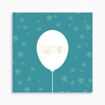 Faire-part de naissance ballon et ciel étoilé (dépliant 4 pages)
