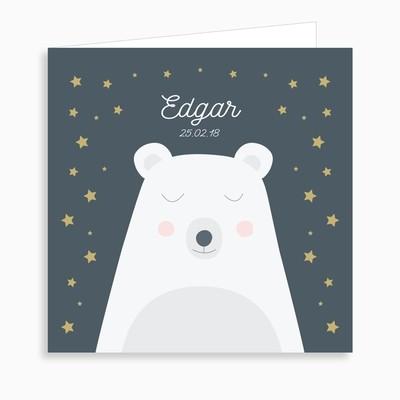 Faire-part de naissance ours polaire rêveur (dépliant 4 pages)