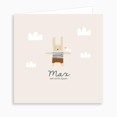 Faire-part de naissance lapin marin et sa mouette (dépliant 4 pages)