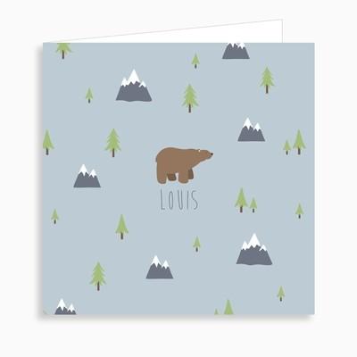 Faire-part de naissance ours brun sans sa forêt dépliant 4 pages