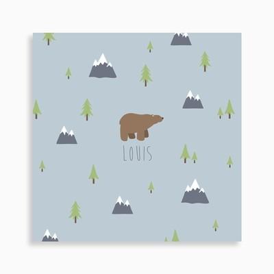 Faire-part de naissance ours brun dans la forêt