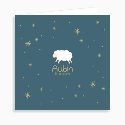 Faire-part de naissance mouton blanc (dépliant 4 pages)