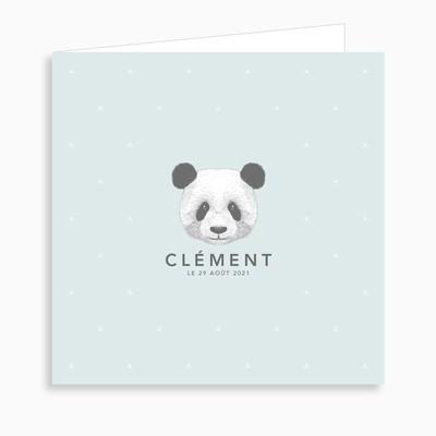 Faire-part de naissance petit panda dépliant 4 pages