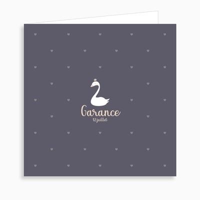 Faire-part de naissance petit cygne blanc (dépliant 4 pages)