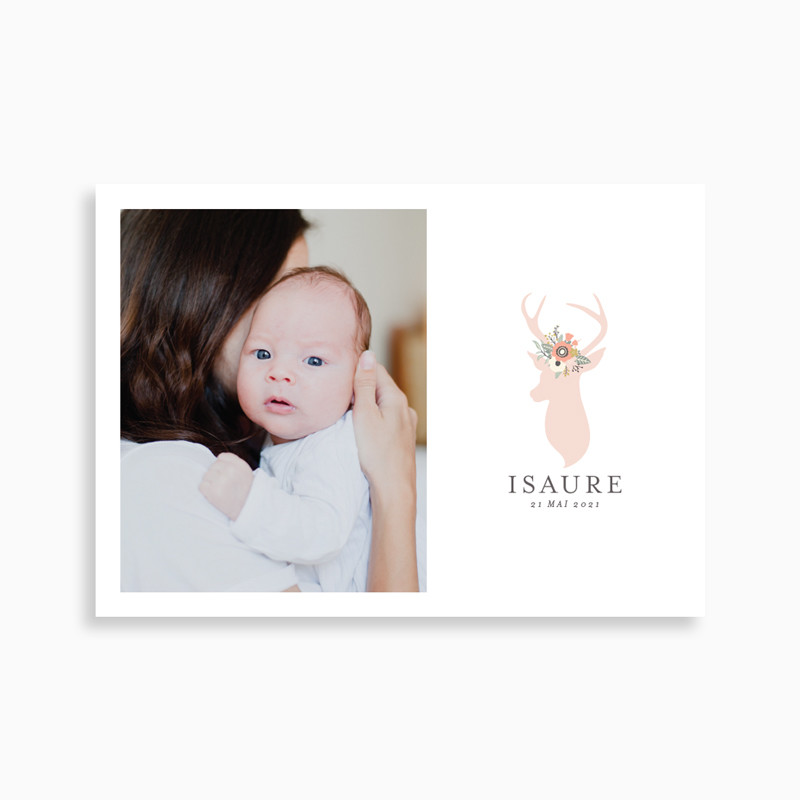 Faire-part de naissance biche bohème (carte postale)