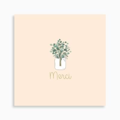 Carte de remerciement naissance bouquet d'eucalyptus