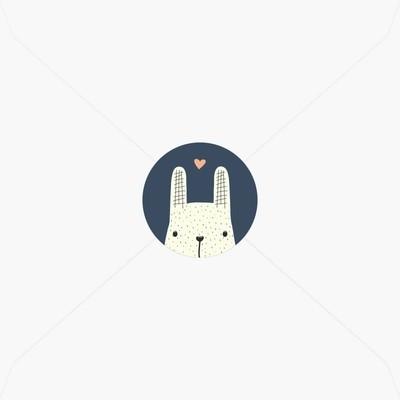 Stickers de naissance petit lapin jouant à cache-cache