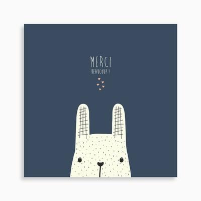 Carte de remerciement naissance petit lapin jouant à cache-cache