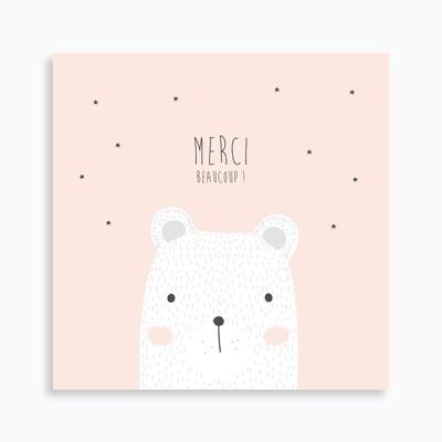 Carte de remerciement naissance ourse polaire rêveuse