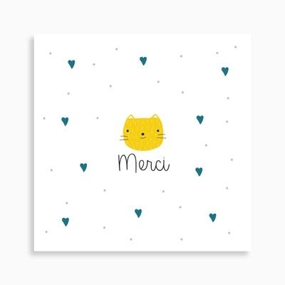Carte de remerciement naissance petit chat