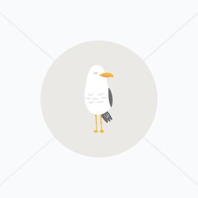 Stickers de naissance mouette ou cabine de plage