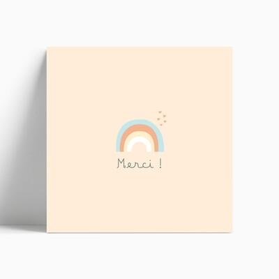 Carte de remerciement naissance arc-en-ciel pour fille
