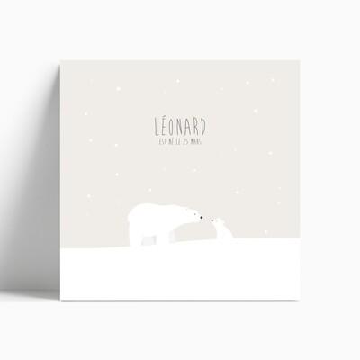 Faire-part de naissance ours polaire et son petit ourson