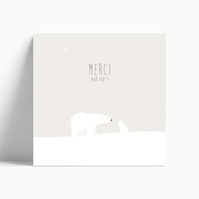 Carte de remerciement naissance ours polaire et son ourson