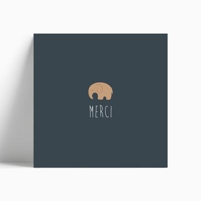 Carte de remerciement naissance éléphant pour faire-part bloomer