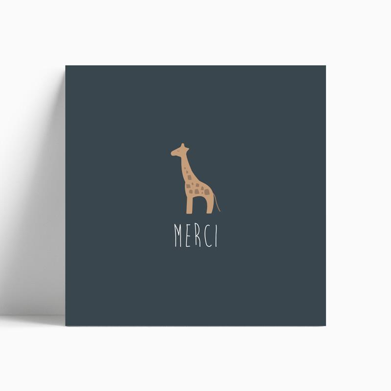 Carte de remerciement naissance girafe pour faire-part robe