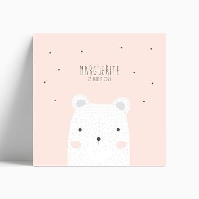 Faire-part de naissance ourse polaire rêveuse