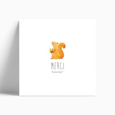 Carte de remerciement naissance écureuil ou éléphant
