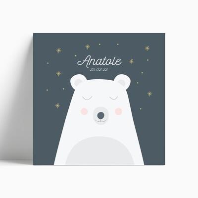 Faire-part de naissance ours polaire rêveur