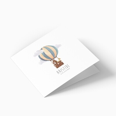 Faire-part de naissance animaux en montgolfière 4 pages (dépliant)
