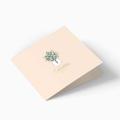 Faire-part de naissance bouquet d'eucalyptus 4 pages (dépliant)