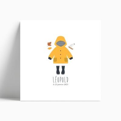 Faire-part de naissance ciré marin jaune